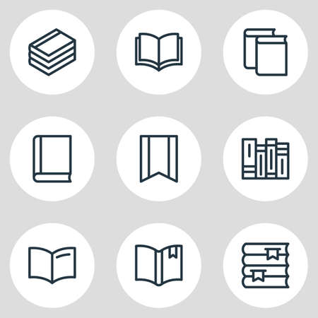 illustration of 9 book reading icons line style. Editable set of education, bookshelf, document and other icon elements.