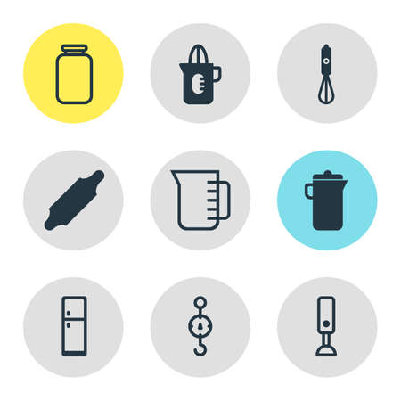 Vector illustration of 9 cooking icons. Editable set of rolling pin, squeezer, scales and other icon elements.