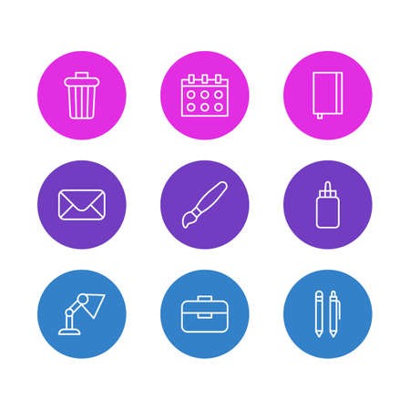 Vector illustration of 9 instruments icons line style. Editable set of glue, envelope, table lamp and other icon elements.