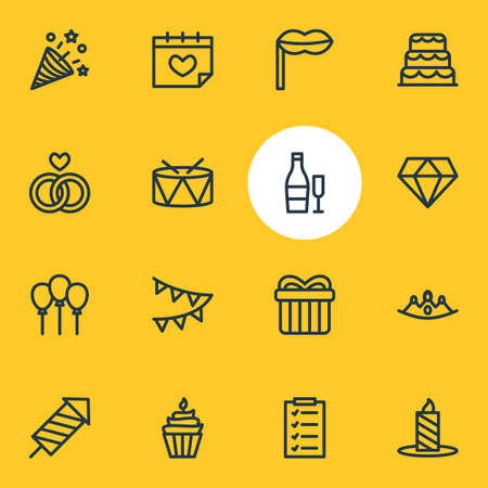 Vector illustration of 16 events icons line style. Editable set of candle, cake, balloon icon elements.
