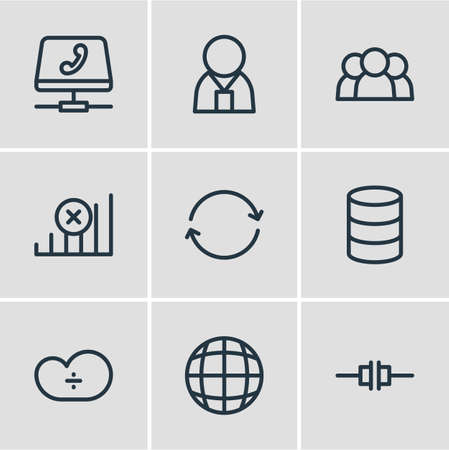 Vector illustration of 9 network icons line style. Editable set of users, web, worldwide and other icon elements.