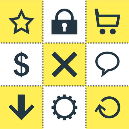 illustration of 9 interface icons. Editable set of gear, down, lock and other icon elements. Stok Fotoğraf