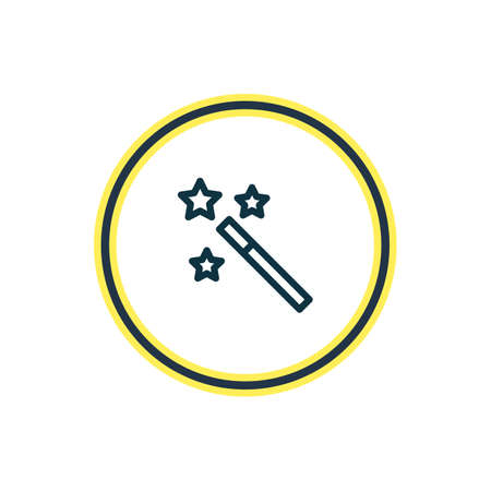 Vector illustration of magic wand icon line. Beautiful joy element also can be used as wizard stick icon element. Archivio Fotografico