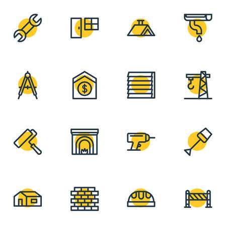 illustration of 16 industry icons line style. Editable set of barrier, wrench, crane and other icon elements.