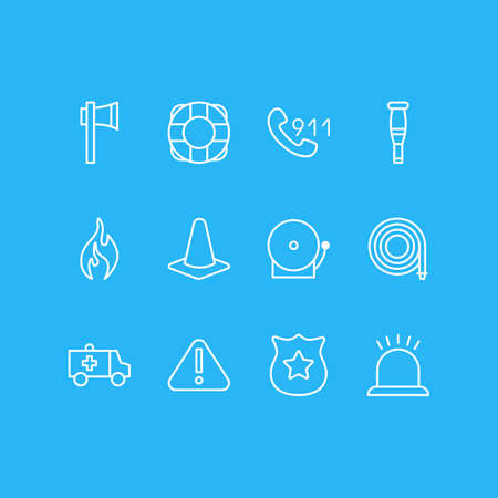 Vector illustration of 12 emergency icons line style. Editable set of attention, lifebuoy, hose and other icon elements. Foto de archivo
