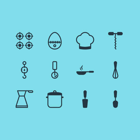 illustration of 12 restaurant icons. Editable set of egg split, pot, scales and other icon elements. Stock Photo