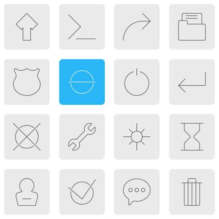 illustration of 16 UI icons line style. Editable set of e-mail, sand clock, arrow icon elements.