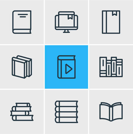 illustration of 9 book icons line style. Editable set of player, literature, lecture and other icon elements.