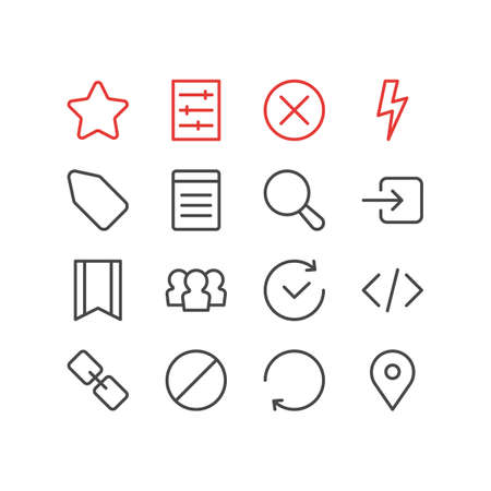 illustration of 16 annex icons line style. Editable set of tag, refresh, setting and other icon elements. 版權商用圖片
