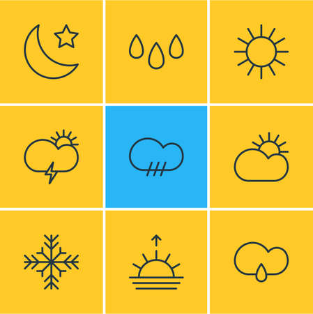 Vector illustration of 9 sky icons line style. Editable set of raindrop, snowflake, sun and other icon elements.  イラスト・ベクター素材