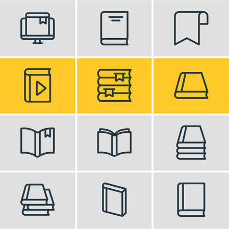 illustration of 12 read icons line style. Editable set of bookshelf, book collection, knowledge and other icon elements. Stock Photo