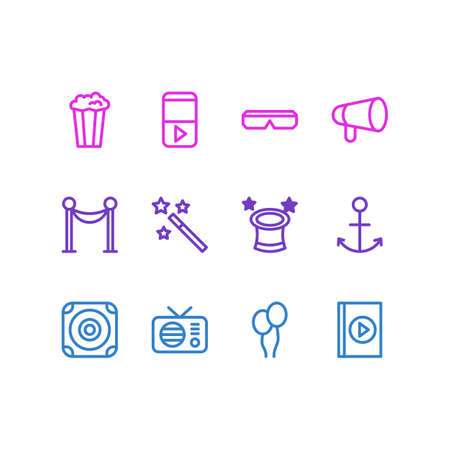 illustration of 12 leisure icons line style. Editable set of magic wand, anchor, barrier icon elements.