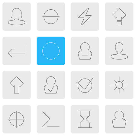 Vector illustration of 16 user icons line style. Editable set of woman member, enter, confirmed member and other icon elements.