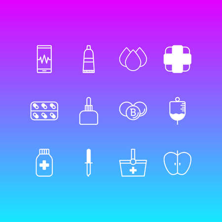 Vector illustration of 12 medical icons line style. Editable set of apple, serum, capsule and other icon elements. Illusztráció
