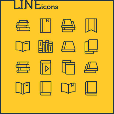 illustration of 16 book icons line style. Editable set of notepad, lecture, magazine and other icon elements.