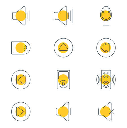 Vector illustration of 12 melody icons line style. Editable set of previous, next, upward sound and other icon elements.