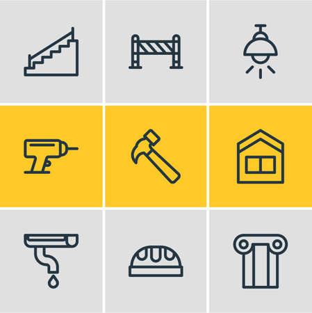 Vector illustration of 9 industry icons line style. Editable set of stairs, lamp, column and other icon elements. Illustration