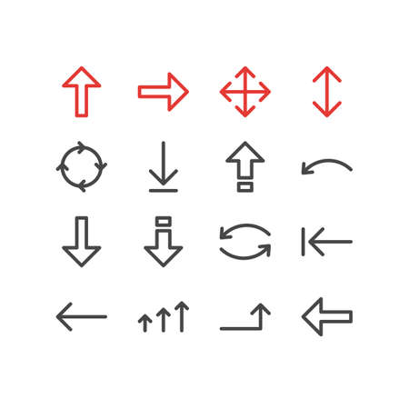 illustration of 16 direction icons line style. Editable set of downward, left, next and other icon elements.