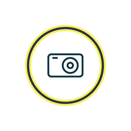 Vector illustration of camera icon line. Beautiful camp element also can be used as photo apparatus icon element.