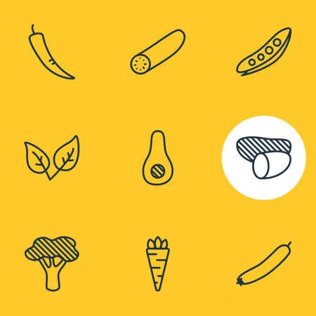 Illustrazione vettoriale di 9 icone di cibo in stile linea. Insieme modificabile di broccoli, avocado, menta verde e altri elementi dell'icona.