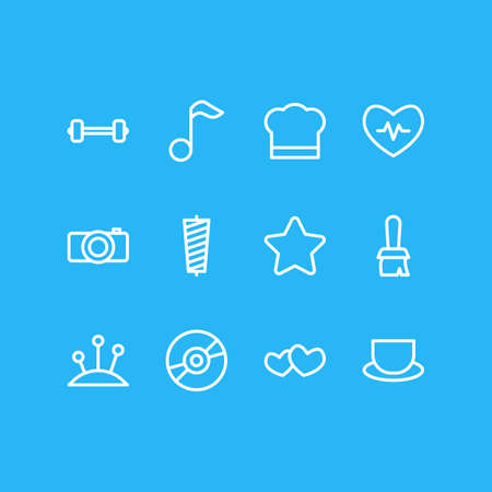 Vector illustration of 12 lifestyle icons line style. Editable set of tea, cooking, camera and other icon elements.