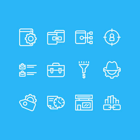 Vector illustration of 12 advertisement icons line style. Editable set of related content, portfolio, SEO whitehat and other icon elements.