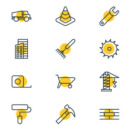Vector illustration of 12 structure icons line style. Editable set of ruler, saw, wrench and other icon elements. Illustration