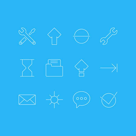Vector illustration of 12 interface icons line style. Editable set of check, sand clock, minus icon elements.