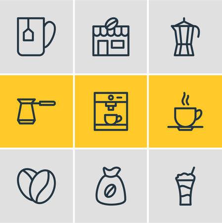 Illustration vectorielle de style de ligne 9 icônes java. Ensemble modifiable de percolateur, haricot arabica, café et autres éléments d'icône.