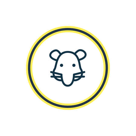 Vector illustration of rat icon line. Beautiful fauna element also can be used as mouse icon element.