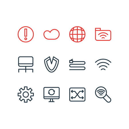 Vector illustration of 12 web icons line style. Editable set of software, scan, cloud storage and other icon elements.