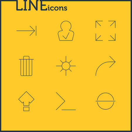 illustration of 9 user icons line style. Editable set of trash, low brightness, publish and other icon elements. 写真素材