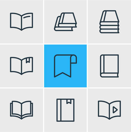 illustration of 9 book icons line style. Editable set of audio book, tutorial, book reading and other icon elements.