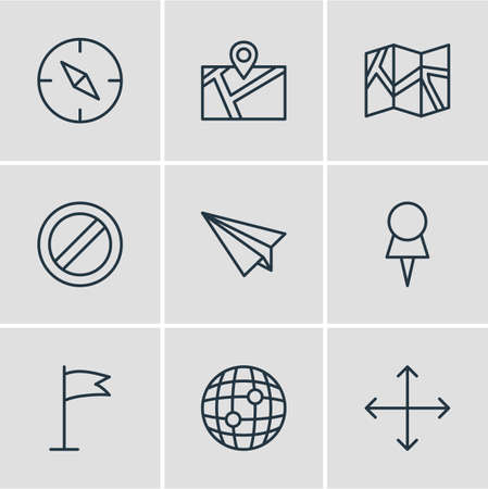 Vector illustration of 9 direction icons line style. Editable set of globe, map, flag and other icon elements. Stock Illustratie