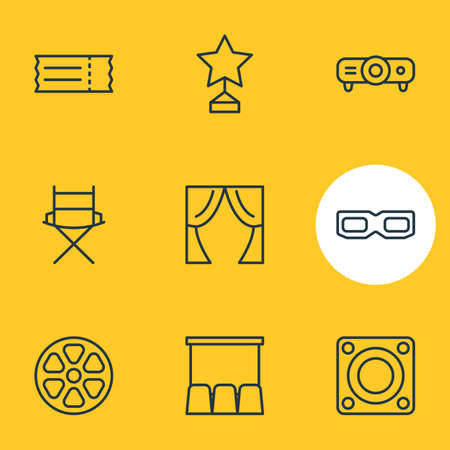 illustration of 9 cinema icons line style. Editable set of 3d glasses, tape, ticket and other icon elements.