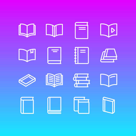 illustration of 16 education icons line style. Editable set of book reading, textbook, publish and other icon elements.