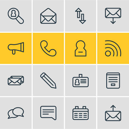 Vector illustration of 16 community icons line style. Editable set of letter, telephone, pen and other icon elements.