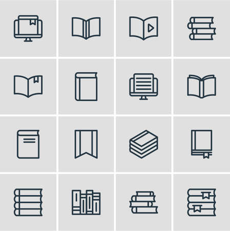 illustration of 16 book reading icons line style. Editable set of document, notebook, publish and other icon elements.