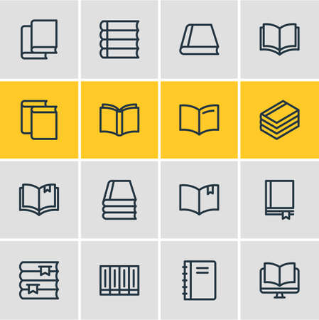 illustration of 16 read icons line style. Editable set of bookstore, spiral book, publication and other icon elements. Stock Photo