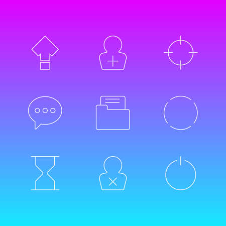 Vector illustration of 9 user icons line style. Editable set of reload, screenshot, e-mail and other icon elements.