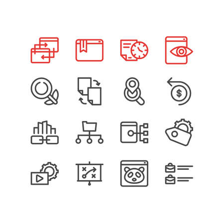 Vector illustration of 16 advertisement icons line style. Editable set of marketing strategy, video marketing, local search and other icon elements. Illustration