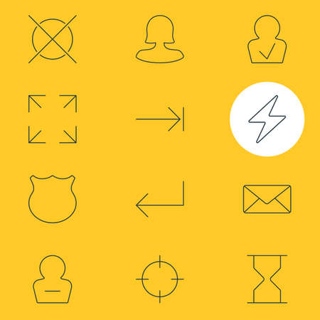 illustration of 12 interface icons line style. Editable set of delete account, screenshot, full screen and other icon elements.