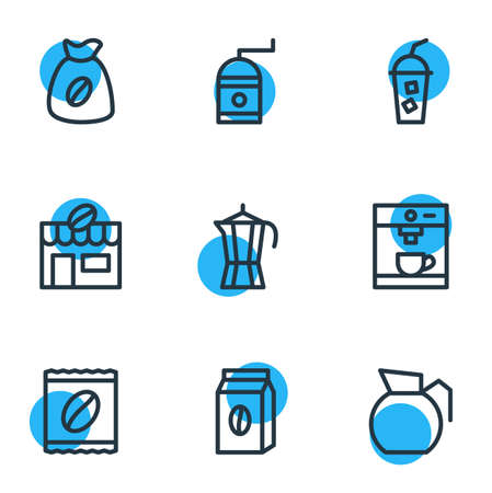 Vector illustration of 9 java icons line style. Editable set of percolator, instant, cold drink and other icon elements. Illustration