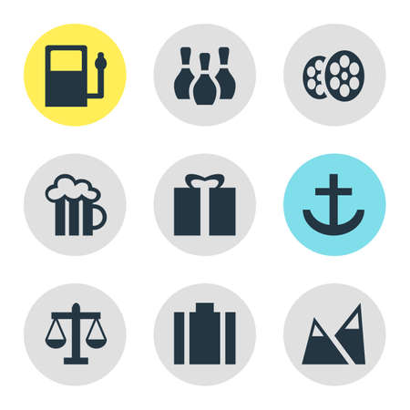 Vector illustration of 9 map icons. Editable set of portfolio, harbor, gas station and other icon elements.