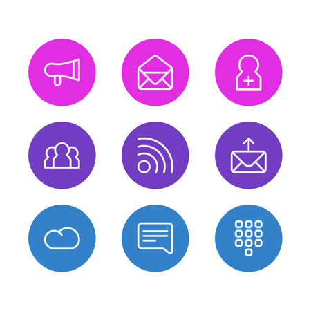 illustration of 9 contact icons line style. Editable set of speech, envelope, register account and other icon elements.