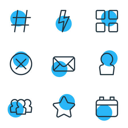 illustration of 9 annex icons line style. Editable set of calendar, member, mail and other icon elements.