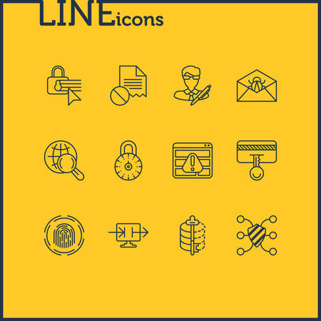 Vector illustration of 12 data icons line style. Editable set of damaged file, secure access, author rights and other icon elements.