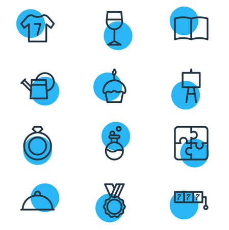 Vector illustration of 12 hobby icons line style. Editable set of wineglass, puzzle, ring and other icon elements.