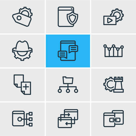 Vector illustration of 12 advertisement icons line style. Editable set of SEO whitehat, adwords campaign, directory submission and other icon elements. Ilustracja