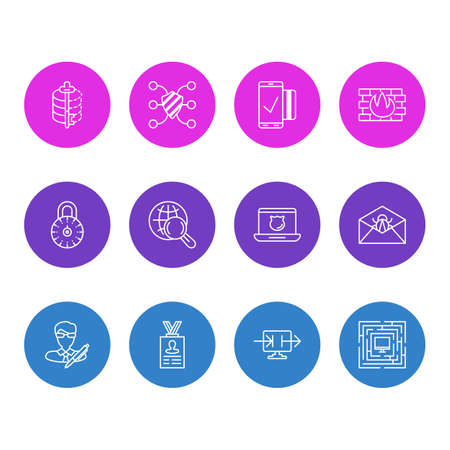 Vector illustration of 12 security icons line style. Editable set of personal information, protected computer, data sharing and other icon elements.